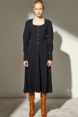 SQUARE NECK CASHMERE DRESS_BLACK