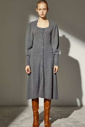 SQUARE NECK CASHMERE DRESS_GREY