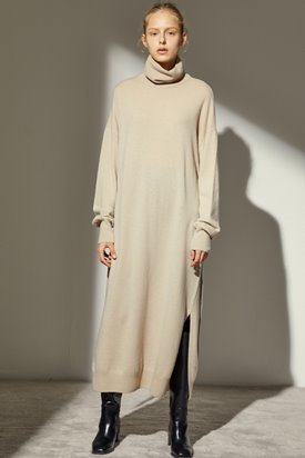 CASHMERE LONG KNIT DRESS_BEIGE