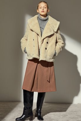 TEDDY SAILOR HALF COAT_BEIGE