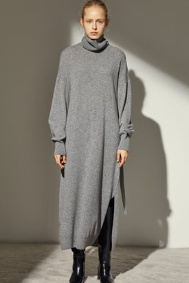 CASHMERE LONG KNIT DRESS_GREY