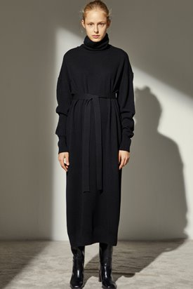 CASHMERE LONG KNIT DRESS_BLACK