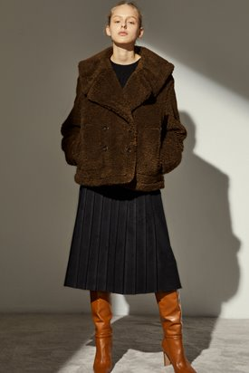 TEDDY SAILOR HALF COAT_BROWN