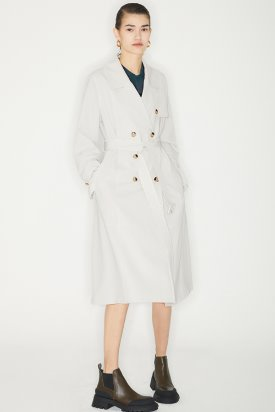 DOUBLE STITCH TRENCH COAT_LIGHT BEIGE